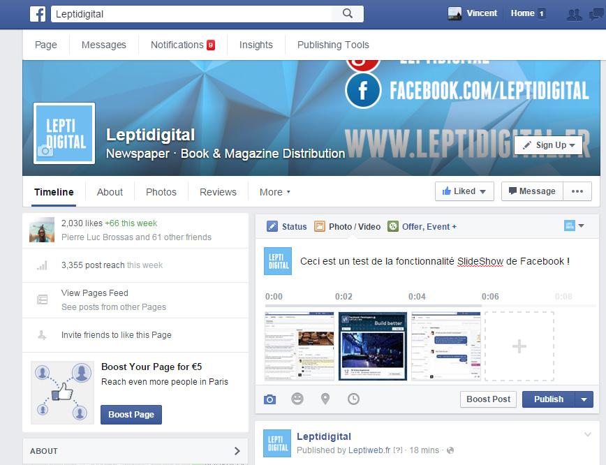 création slideshow Facebook
