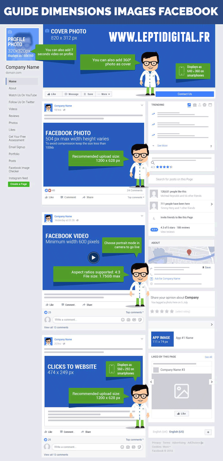 Dimensions images pages et publications Facebook
