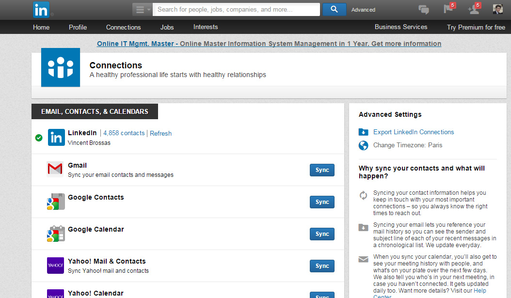 export contacts linkedin