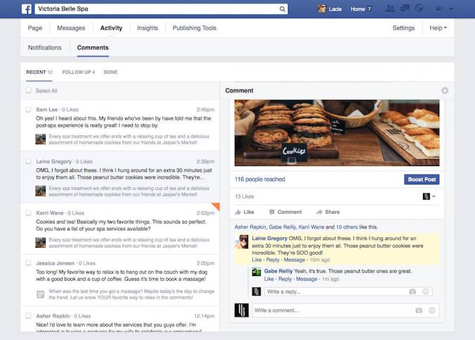 gestion commentaires Facebook