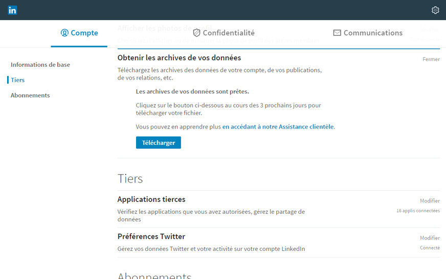 télécharger emails contacts linkedin