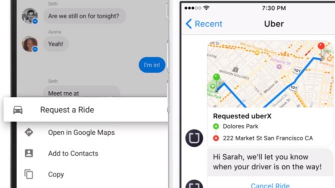 Uber s'invite sur Facebook Messenger !