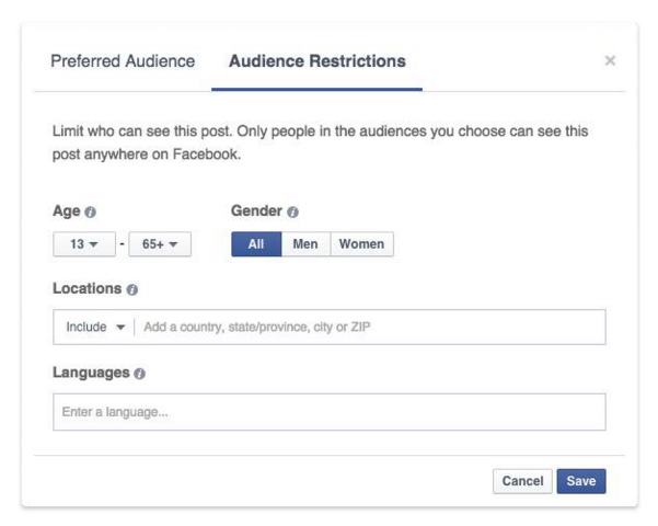 audience restriction facebook