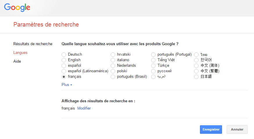 changer langue Google