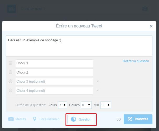 créer sondage twitter