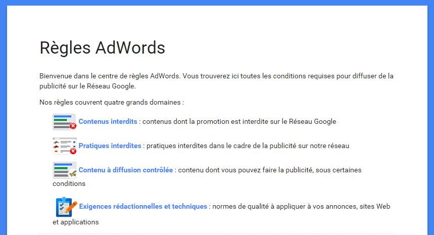 règles adwords publicités