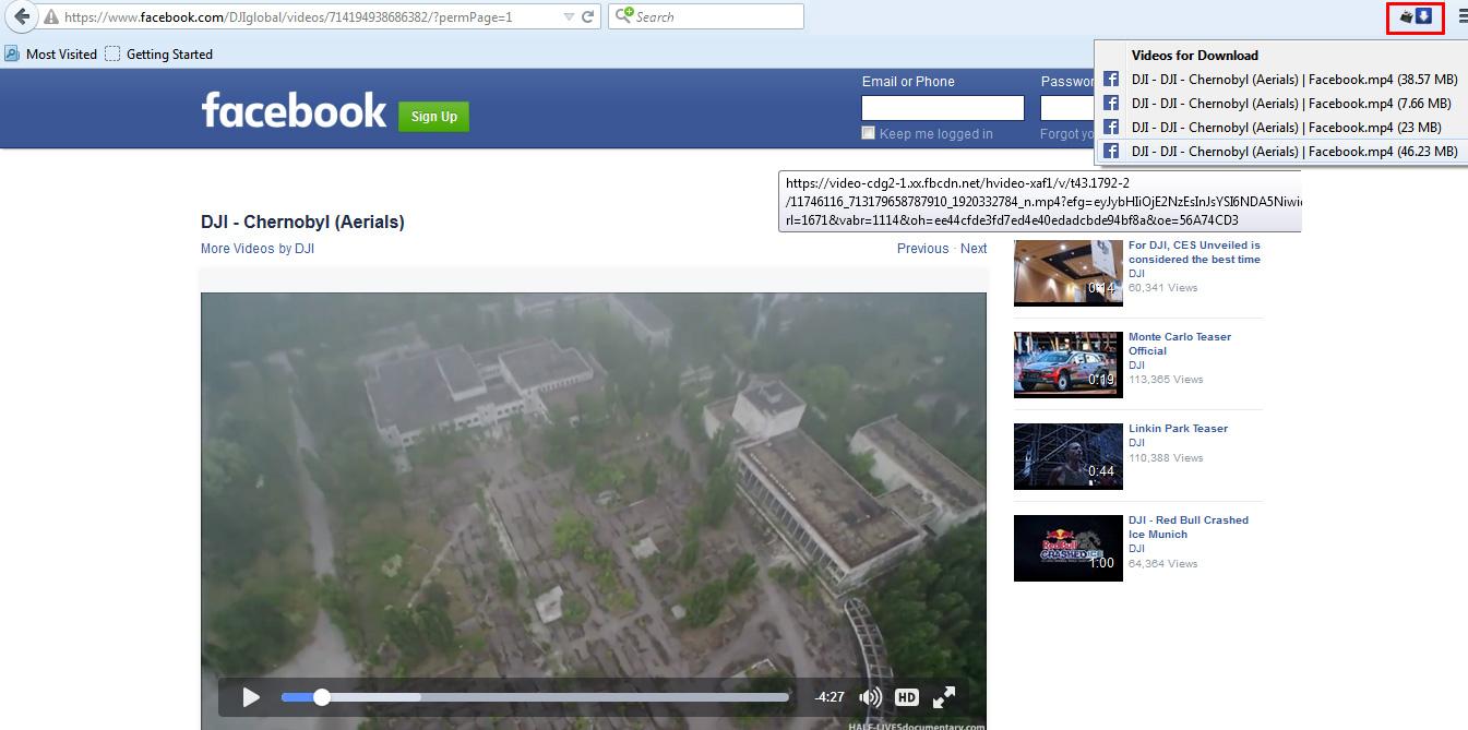 télécharger video Facebook-firefox