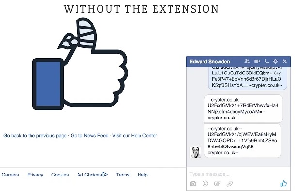 conversation crypter sans extension-facebook