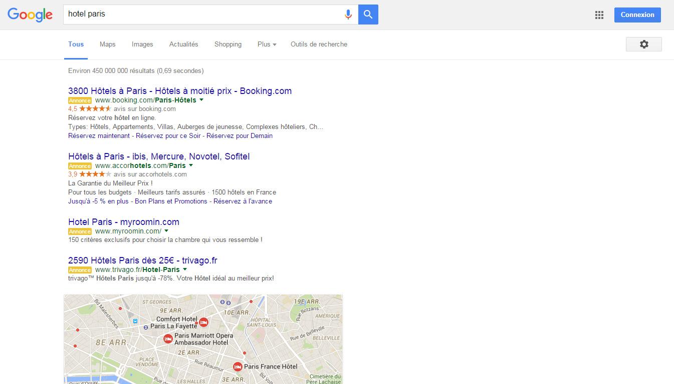 hotel paris requête google