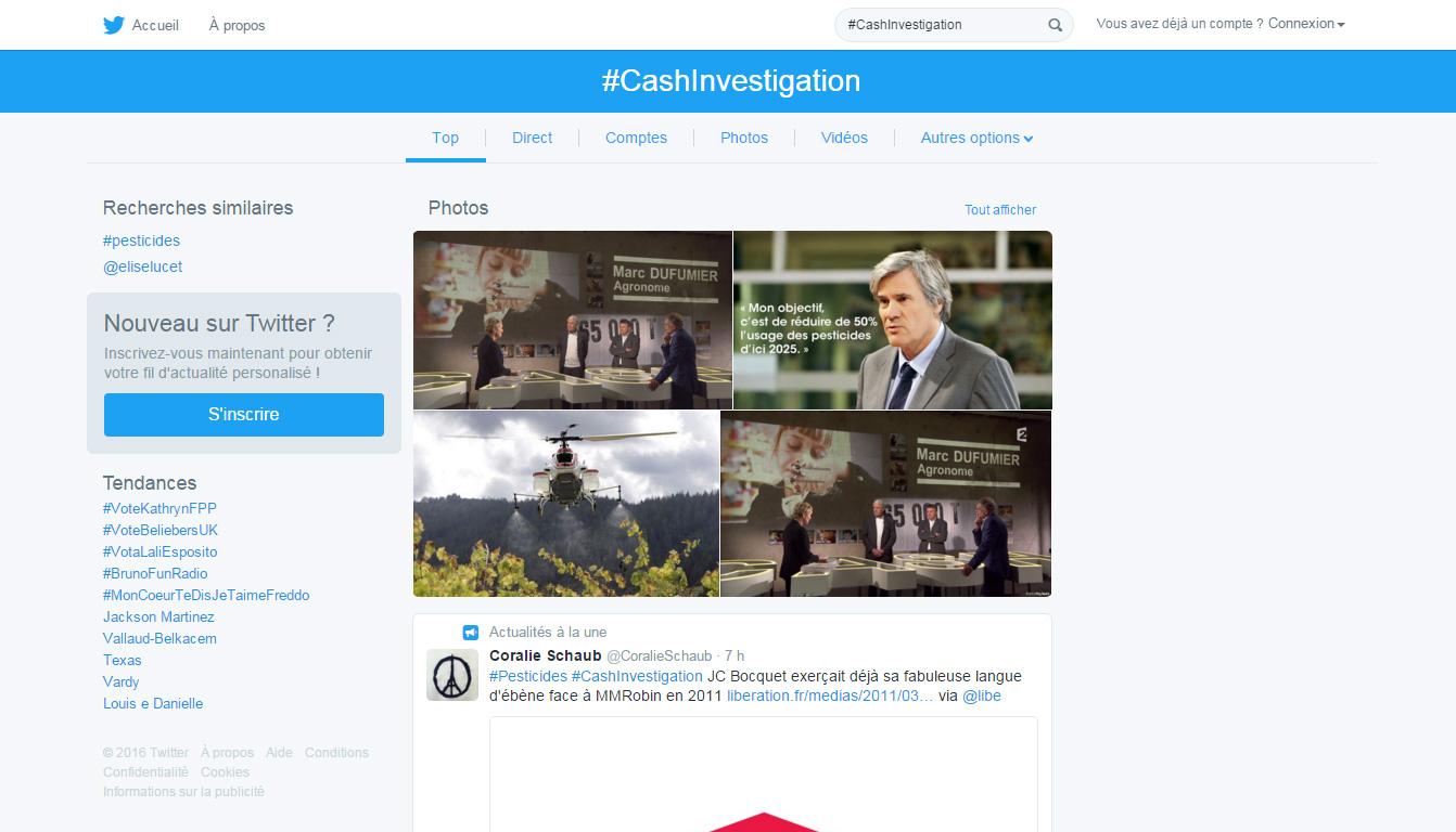 page recherche Twitter 2016
