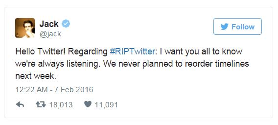 tweet jack dorsey rip twitter