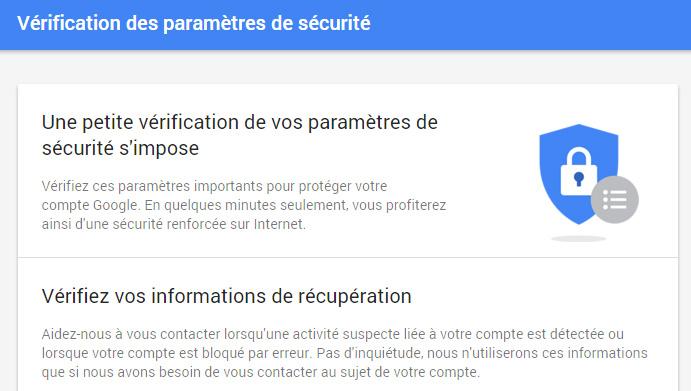 Vérification sécurite Google