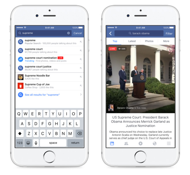 facebook live trending