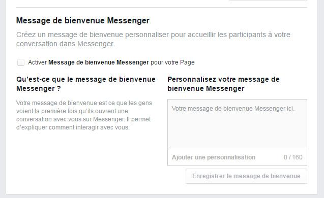 message bienvenue facebook messenger