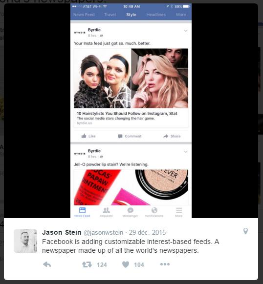 test fil actualité Facebook 2015