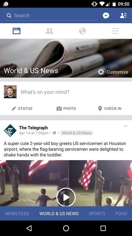 test fil actualité Facebook 2016