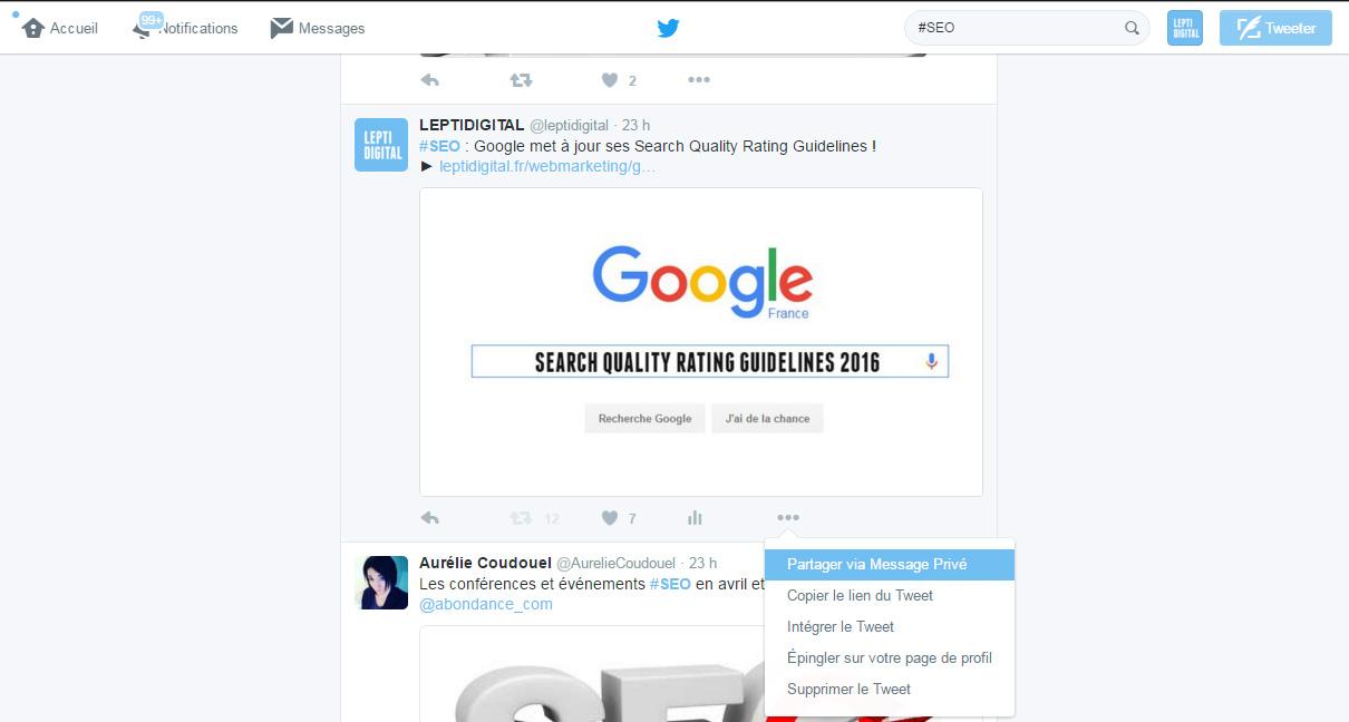 Twitter partager via mesage privé