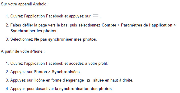 désactiver synchronisation photos Facebook