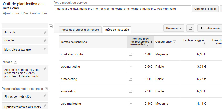 google keyword planner webmarketing