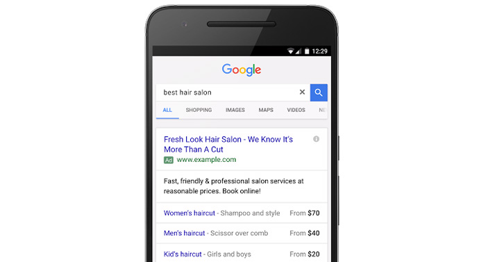 extensions prix google adwords