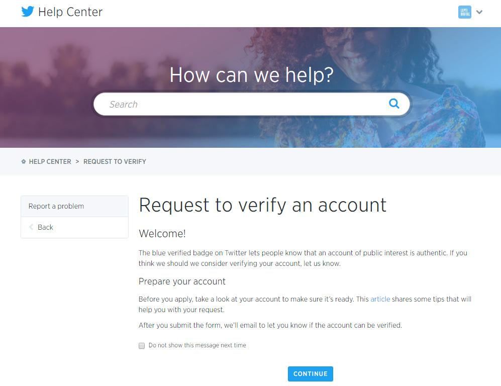 formulaire demande compte Twitter certifié