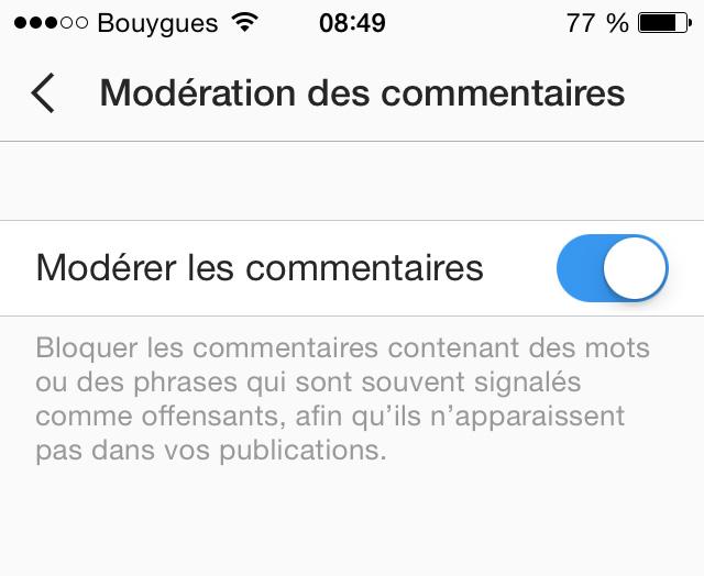 modération commentaires instagram