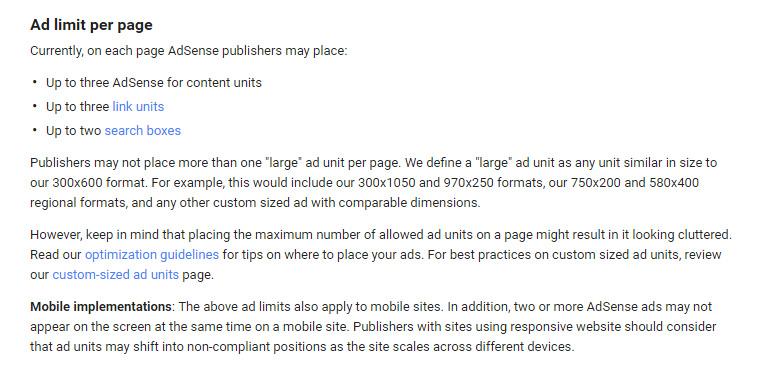 ancienne limite annonces Google Adsense
