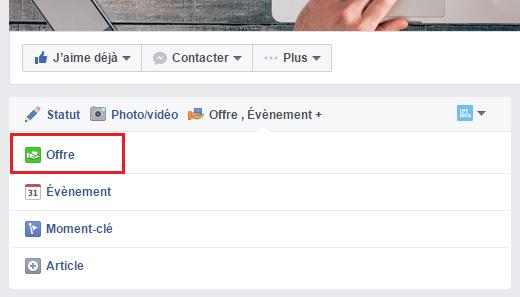création offre facebook
