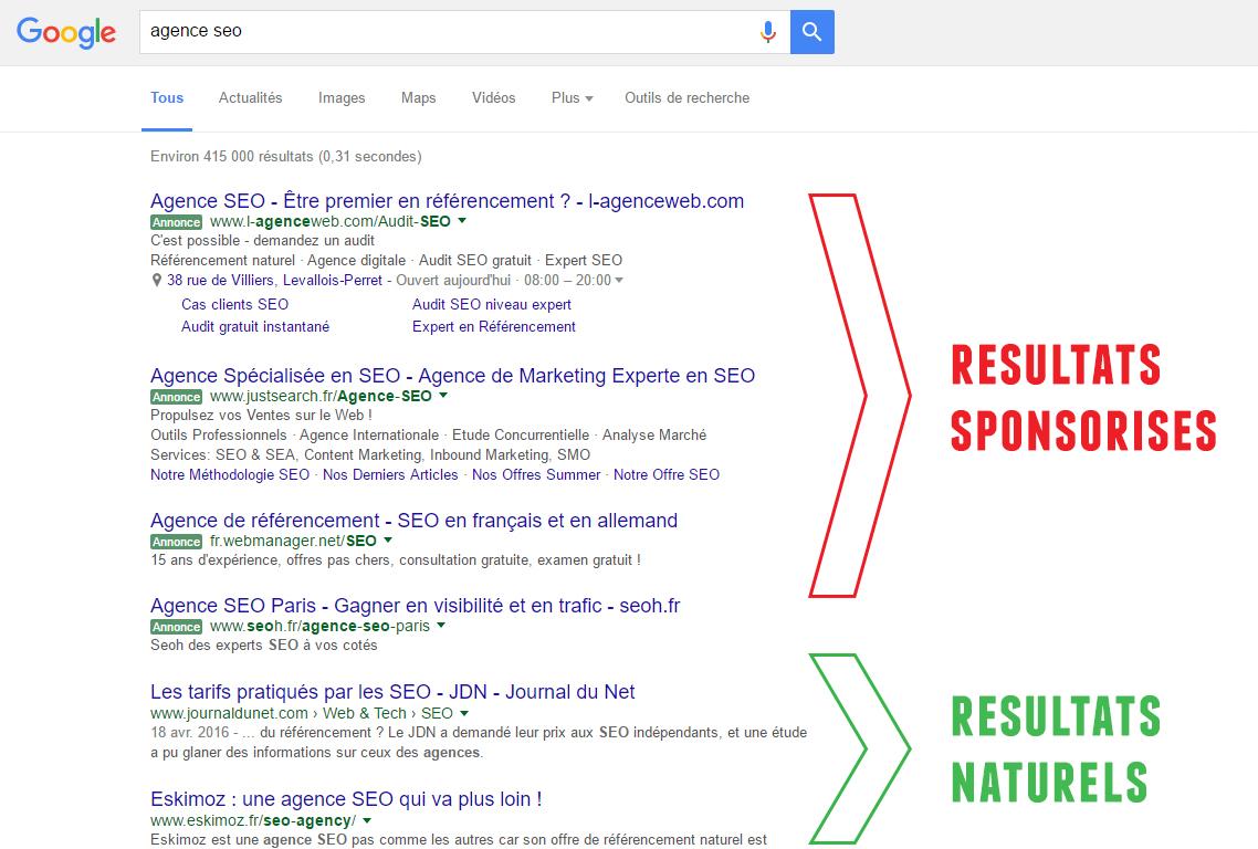 liens sponsorisés VS naturels Google