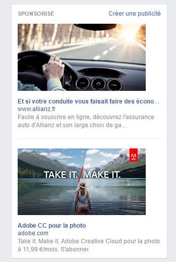 publicités Facebook sidebar