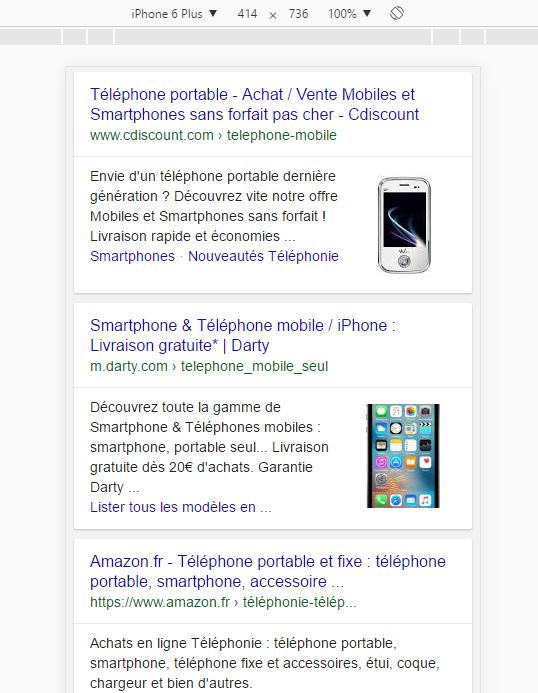 image une resultats mobiles google