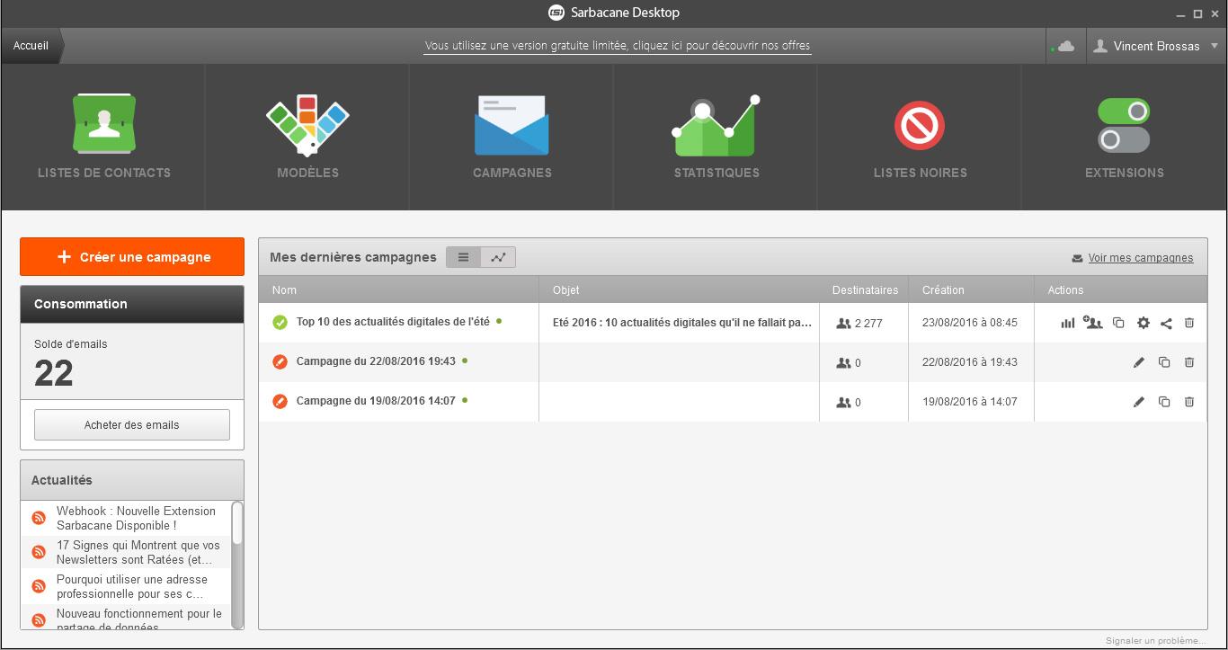 sarbacane desktop accueil