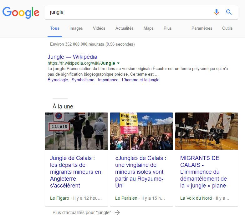 actualités à la une google