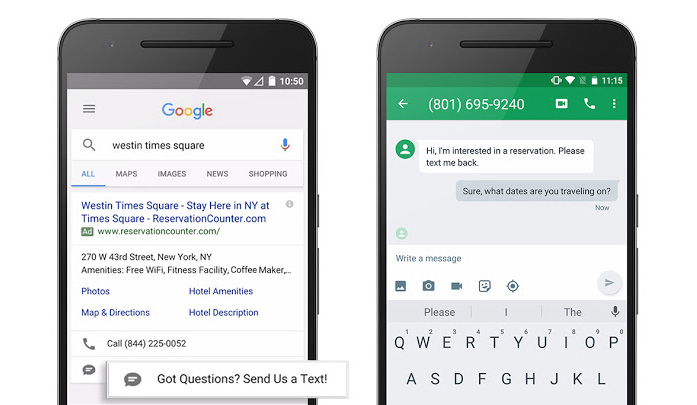 extension message sms google adwords
