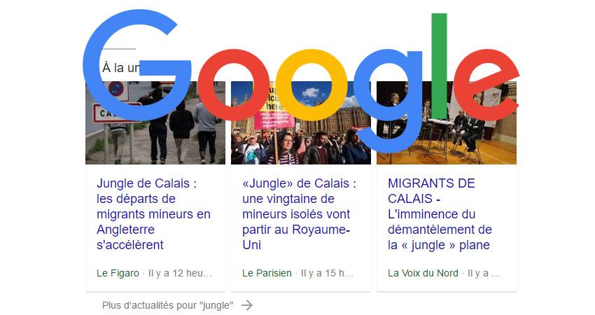 google actualités SERPs