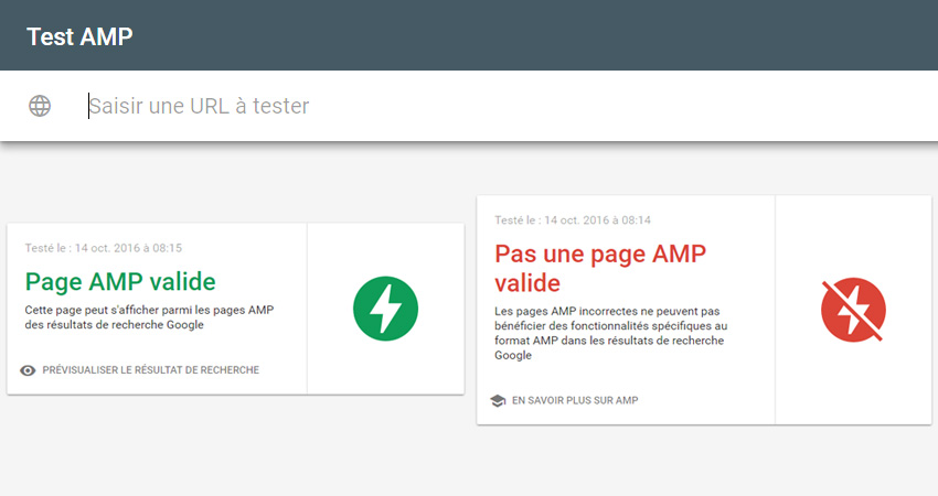 outil test pages amp