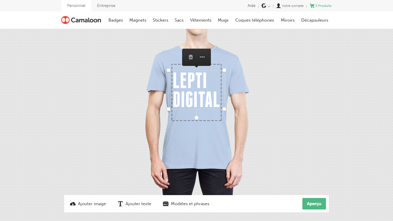 personnalisation tshirt camaloon