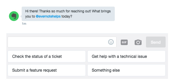 chatbot twitter evernote