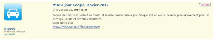 mise à jour google janvier 2017