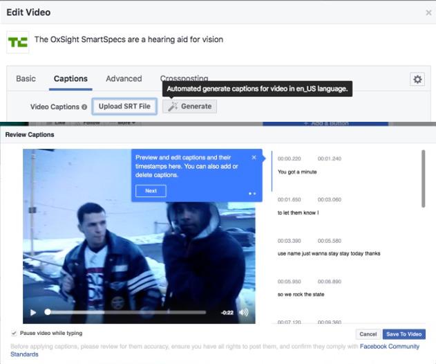 sous-titres automatiques vidéo Facebook
