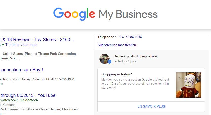 google my business offre à la une
