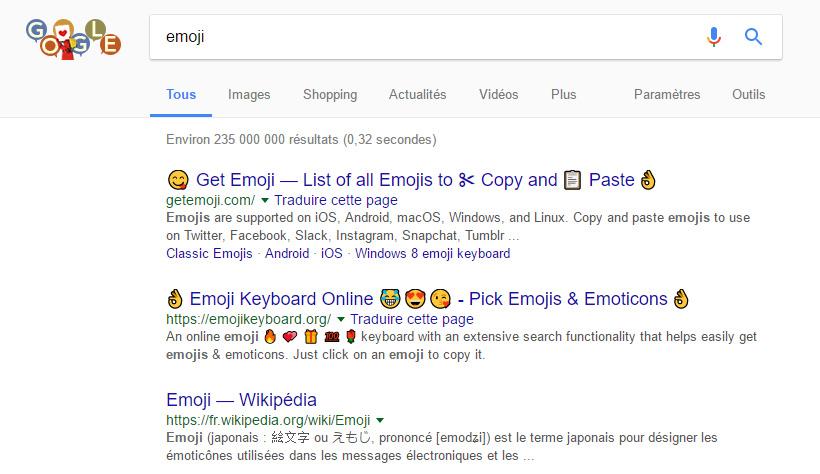 ajout emojis google
