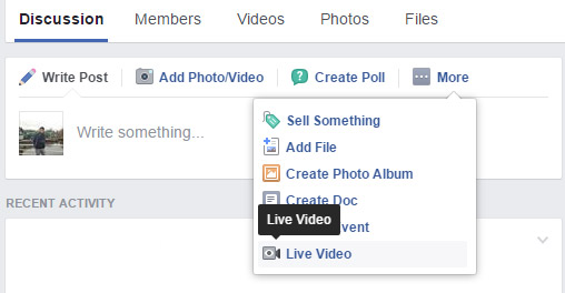 live video desktop groupe facebook