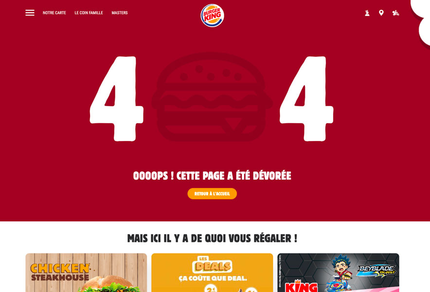 page erreur 404 burger king