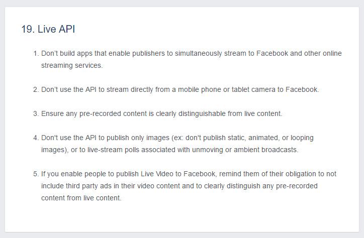 règles utilisation API live Facebook