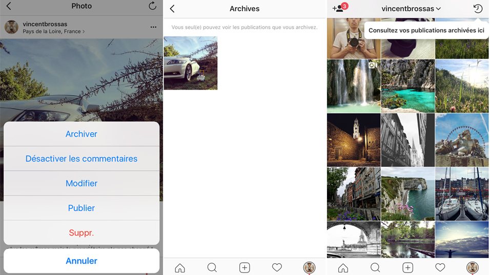 archiver photo vidéo instagram