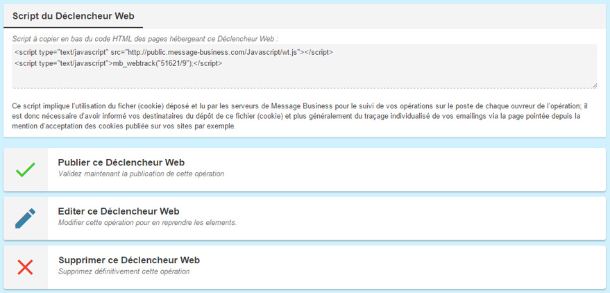 déclencheur web Message Business
