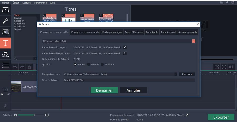 exporter video Movavi
