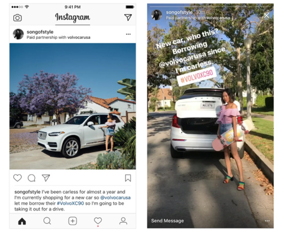 instagram tag sponsorisé