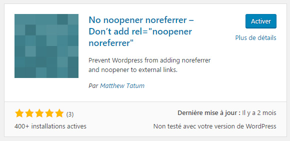 plugin WordPress noopener noreferrer